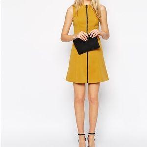 ASOS A-lime mustard zipper dress